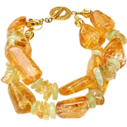 SALE PENDING Golden Citrine Nuggets, Fluorite Bracelet