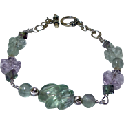 Green and Lavender Fluorite Melon and Flower Bracelet