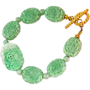 Carved Green Jade Dragon/Bat/Double Happiness Bracelet