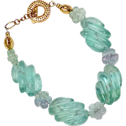 SALE Green Fluorite Melon and Flowers Bracelet