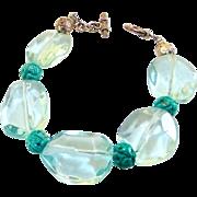Faceted Blue Quartz Neggets, Carved Turquoise Bracelet