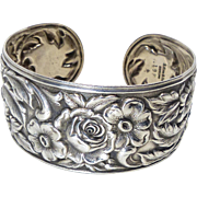 S, Kirk ad Son Sterling Silver Repousse Cuff C:1940's