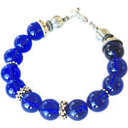 Antique Cobalt Peking Glass Bracelet