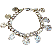 REDUCED Sterling Silver Charm Bracelet with Vintage Indian Silver Pendants