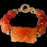 SOLD Carved Orange Carnelian Lotus Bracelet