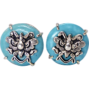 SALE Turquoise Button Earrings
