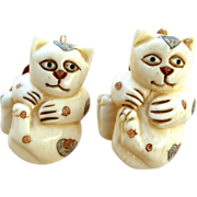 REDUCED Carved and Etched Bone Cats Button Earrings