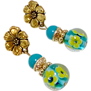 REDUCED Turquoise Flower Glass Drop Earrings