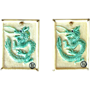 Green Bone Dragon Button Earrings