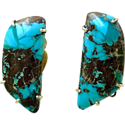 Natural Chinese Turquoise French Clip Button Earrings