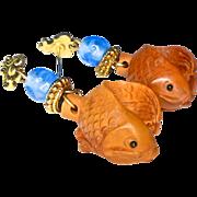 SALE Boxwood Fish Drop Earrings