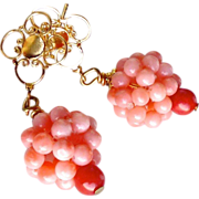 REDUCED Pink Coral Cluster Drop Earrings