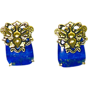 SALE Lapis and Gold Vermeil Butterfly Button Earrings