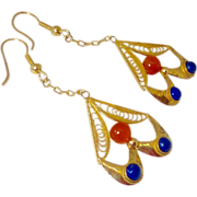 REDUCED Vintage Carnelian, Lapis and Gold Vermeil Drop Earrings