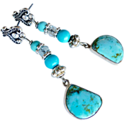 REDUCED Turquoise and Silver Drop Earrings
