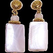 SALE Pink Mother Of Pearl Drop Earrings