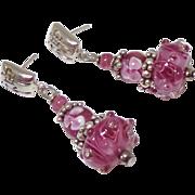 SOLD Pink Czechoslovakian Rose Glass Drop Earrings