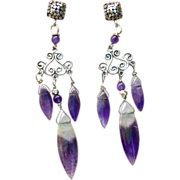 SALE Purple Amethyst Lace Fancy Drop Earrings