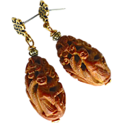 SOLD Chinese Carved Olive Pit Drop Earrings