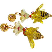 REDUCED Golden Glass Bumblebees, Flowers Drop Earrings