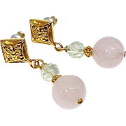 SALE Rose Quartz, Faceted Fluorite Drop Earrings