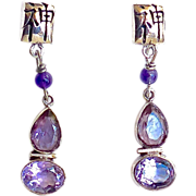 SALE Faceted Amethyst Sterling Silver Drop Earrings