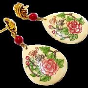 Hand Etched Bone Flower Drop Earrings