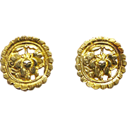 Antique Chinese 18k Gold Vermeil Button Earrings