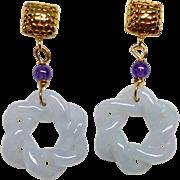 Carved Twisted Blue Jade Knots Drop Earrings