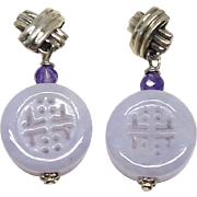 Carved Lavender Jade Happiness and Longevity Drop Earrings