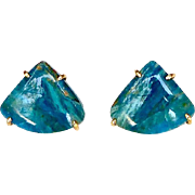 Peruvian Opal Button Earrings