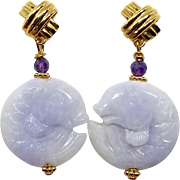 Carved Lavender Jade Fish Drop Earrings