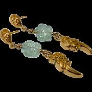 REDUCED 18K Gold Vermeil Parrot, Green Fluorite Flower Drop Earrings