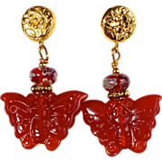 SALE Carnelian Butterfly Drop Earrings