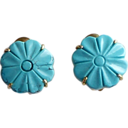 REDUCED Chinese Turquoise Flower Button Earrings