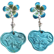 Turquoise Lock, Enameled Flower Drop Earrings