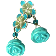 Carved Turquoise Flower, Enameled Silver Flower Drop Earrings