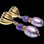 SALE Faceted Amethyst, Lavender Rice Pearls Drop Earrings