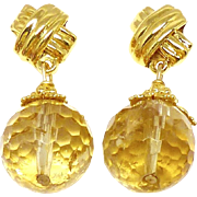 Faceted Golden Citrine Drop Earrings