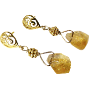 Golden Faceted Citrine Nugget Drop Earrings