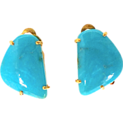 Chinese Turquoise, French Clip Button Earrings