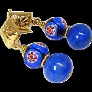 Blue Lapis and Italian Millifiori Bead Drop Earrings