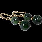 Green Ruby Zoisite Drop Earrings, 14k Gold