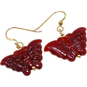 SALE Deep Red Orange Carnelian Butterfly Drop Earrings, 14K Gold