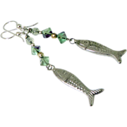 REDUCED Silver Fish, Rainbow Fluorite Drop Earrings