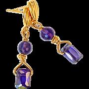 SALE Purple Cubic Zirconia, Faceted Amethyst Drop Earrings
