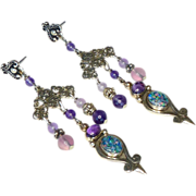 SALE Opal, Amethyst, Indonesian Silver Drop Earrings