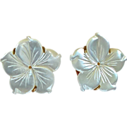 SOLD White Mother Of Pearl Flower Button Earrings