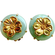 SALE Green Aventurine with Gold Vermeil Flower Button Earring