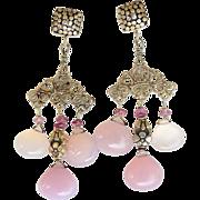 REDUCED Pink Chalcedony Chandelier Drop Earrings